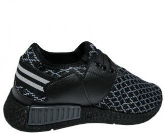 Мъжки спортни обувки черни текстил 3