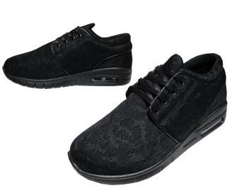 Мъжки спортни обувки черни текстил