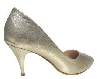 Дамски елвгантни обувки еко кожа златисти 3