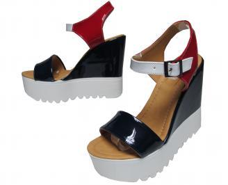 Дамски сандали на платформа еко кожа черно/бяло/червено