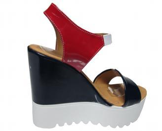 Дамски сандали на платформа еко кожа черно/бяло/червено 3