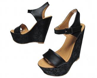 Дамски сандали на платформа еко кожа/дантела черни
