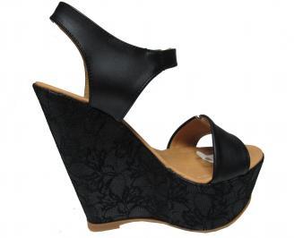 Дамски сандали на платформа еко кожа/дантела черни 3