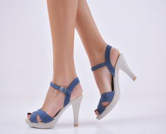 Дамски елегантни сандали текстил сини