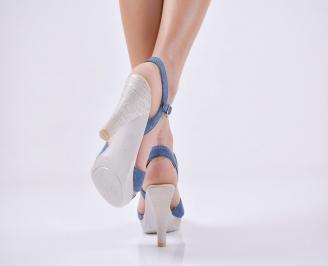 Дамски елегантни сандали текстил сини 3