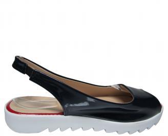 Дамски равни сандали еко кожа/лак тъмно сини 3