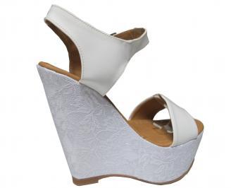 Дамски сандали на платформа еко кожа/дантела бели 3