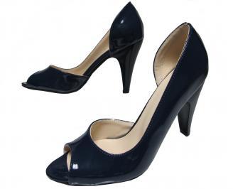 Дамски елегантни обувки еко кожа/лак тъмно сини