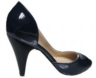 Дамски елегантни обувки еко кожа/лак тъмно сини 3
