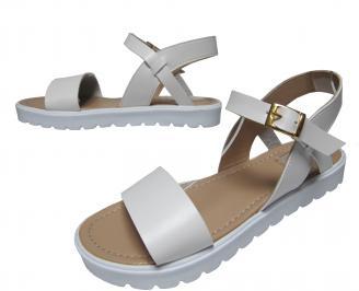 Дамски равни сандали еко кожа бели