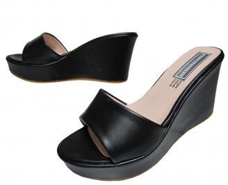 Дамски чехли на платформа еко кожа черни