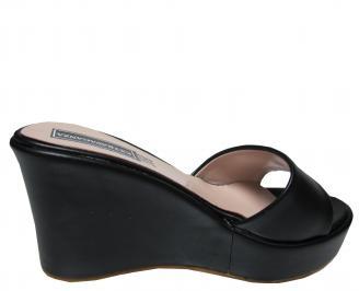 Дамски чехли на платформа еко кожа черни 3