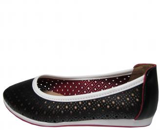 Дамски равни обувки естествена кожа черни