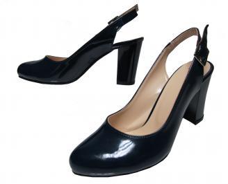 Дамски елегантни сандали тъмно сини  еко кожа/лак