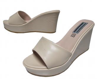 Дамски чехли на платформа еко кожа бежови