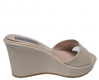 Дамски чехли на платформа еко кожа бежови 3