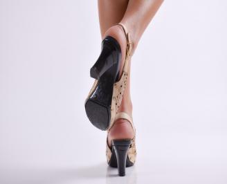 Дамски елегантни сандали бежови еко кожа 3