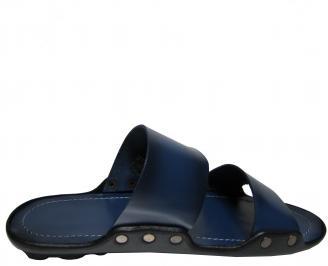 Мъжки чехли  естествена кожа тъмно сини 3
