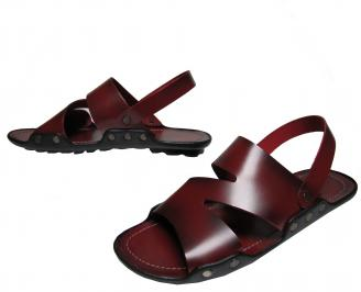 Мъжки сандали естествена кожа червени