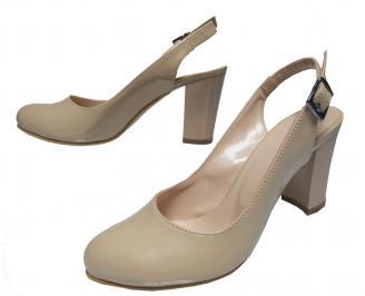 Дамски елегантни сандали бежови еко кожа/лак