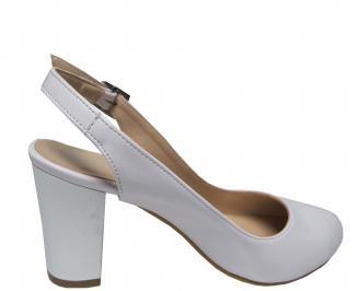 Дамски елегантни сандали бели еко кожа 3
