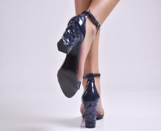 Дамски елегантни сандали тъмно сини еко кожа/лак 3