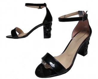 Дамски елегантни сандали черни еко кожа/лак