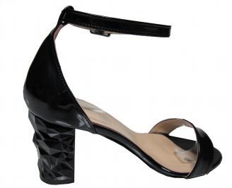 Дамски елегантни сандали черни еко кожа/лак 3