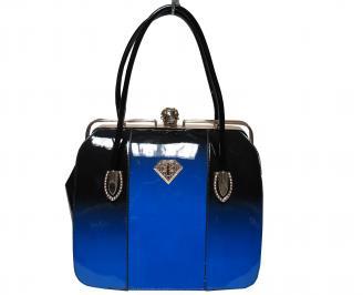 Дамска чанта еко кожа/лак синя
