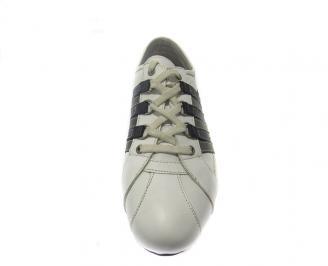 Спортни мъжки обувки естествена кожа бели 3