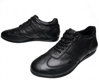 Мъжки спортно елегантни обувки -Гигант естествена кожа черни