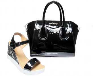Комплект дамски сандали и чанта еко кожа черни
