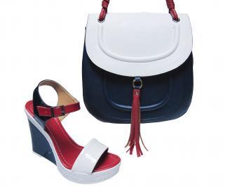Комплект дамски сандали и чанта еко кожа сини