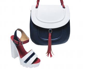 Комплект дамски сандали и чанта еко кожа бяло/синьо/червено