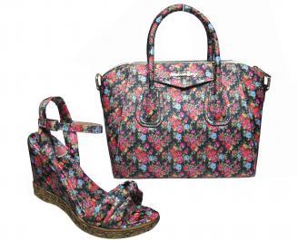 Комплект дамски сандали и чанта еко кожа/текстил на цветя