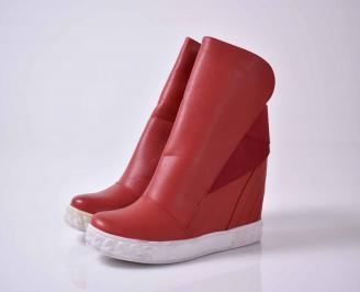 Дамски боти на платформа червени  еко кожа