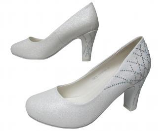 Дамски елегантни обувки бели еко кожа