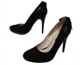 Дамски елегантни обувки естествен набук черни