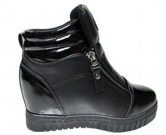 Дамски боти на платформа еко кожа черни