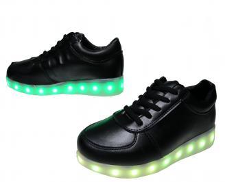 Дамски спортни обувки/светещи/еко кожа черни