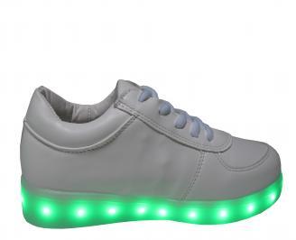 Дамски спортни обувки/светещи/еко кожа бели