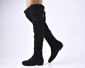Дамски ботуши  черни от еко велур
