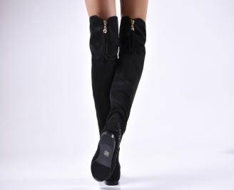 Дамски ботуши  черни от еко велур 3