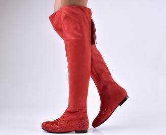 Дамски ежедневни ботуши  червени от еко велур