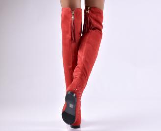 Дамски ежедневни ботуши  червени от еко велур 3