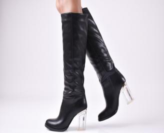 Дамски елегантни  ботуши  черни с прозрачен ток еко кожа