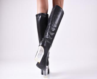 Дамски елегантни  ботуши  черни с прозрачен ток еко кожа 3