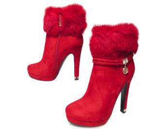 Дамски боти  червени от еко велур  и пух