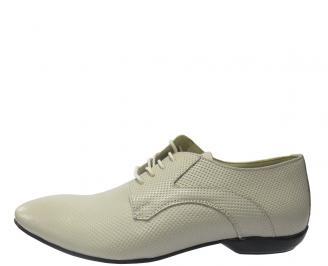 Мъжки обувки официални естествена кожа бежови