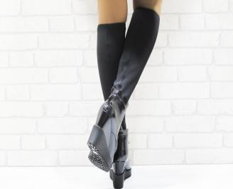 Дамски ботуши  черни лак в комбинация със стреч 3